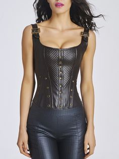 Lace-Up Steel Boned Faux Leather Corset Top - CHOCOLATE 2XL