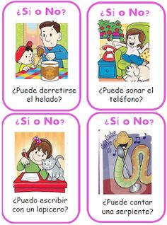 Si o no … Cognitive Activities, Life Skills Activities, Circle Time Activities, Speech Therapy Activities, Speech Language Pathology, Language Activities, Speech And Language, Activities For Kids, Love Speech