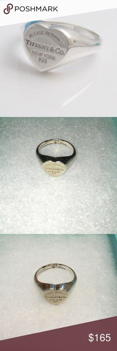 Tiffany: heart ring Tiffany & Co. Heart ring. Little dirty but if you take it into a Tiffany store they will clean it up for you. It is a great ring and will look perfect once cleaned up. Size 7 and I'm willing to negotiate but very expensive ring and asking a good price! Comes with a Tiffany box Tiffany & Co. Jewelry Rings