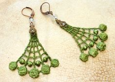 LOVELY LIME lace earrings CONNIE lime green by tinaevarenee on Etsy, $22.00