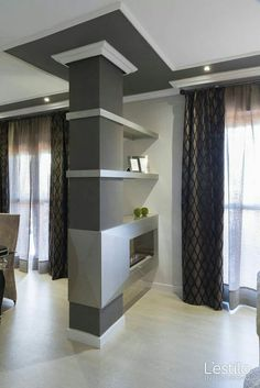 44 Modern Simple Decor That Make Your Home Look Fabulous Living Room Partition Design, Living Room Divider, Room Partition Designs, Living Room Decor, Columns Decor, Interior Columns, Home Interior Design, Interior Exterior, Lobby Interior