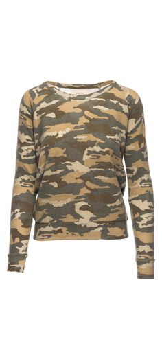 Chaser Love Knit Open Neck Drape Back Long Sleeve Pullover in Camouflage / Manage Products / Catalog / Magento Admin
