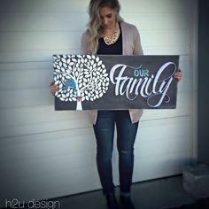 16x36 custom Our Family String Art Visit www.facebook.com/H2UDesign for ordering details!