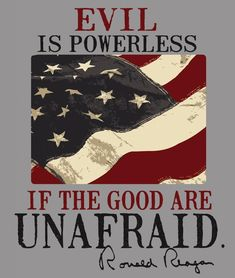 """Evil is powerless if the good are unafraid."" - Ronald Reagan I miss Reagan Ronald Reagan Quotes, President Ronald Reagan, 40th President, I Love America, God Bless America, America America, Shining Tears, Thing 1, American Pride"