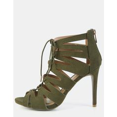Caged Lace Up Stiletto Heels OLIVE ($32) ❤ liked on Polyvore featuring shoes, pumps, olive, lace up stilettos, olive green shoes, lace up pumps, sexy high heel shoes and caged pumps