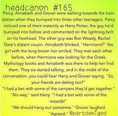 oh gods yes i wish this happened. J.K Rowling and Uncle Rick should write a Percy Jackson story together with harry potter!