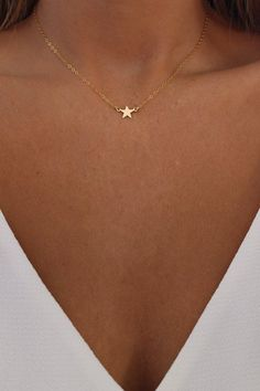 Tiny Gold Star Necklace - Mini Star Choker Necklace - Celestial Necklace - Bridesmaids Necklace - Constellation Jewelry - Gift for Her Star Necklace, Dainty Necklace, Dainty Jewelry, Cute Jewelry, Bridal Jewelry, Jewelry Gifts, Jewelry Accessories, Jewelry Necklaces, Jewelry Design