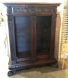 "Renaissance Revival Vintage Open Front Bookcase   Italy  19th Century   45.5"" Wide x 18"" Deep x 59"" High   $1950  Dealer #7373  Lost. . .Antiques 1201 N. Riverfront Blvd. Dallas, TX 7520"