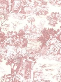 Brewster Wallcovering Somerset House Wall Paper Isabella Rose Toile pattern 266821511. Keywords describing this pattern are french country, toile, countryside, vintage, trees, romantic.  Colors in this pattern are Pink, Red.  Alternate color patterns are 266821510;Page:15;266821512;Page:38;266821513;Page:44;266821514;Page:21.  Coordinating patterns are 266821516;Page:8;266821526;Page:9;266821531;Page:1. Product Details:  strippable  washable  Material is Non-Woven. Product Information:  Book…