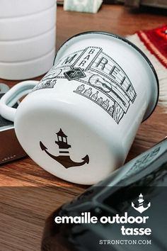 Fümreif X Stroncton Enamel Mug My T Shirt, Designs, My Heart, My Design, Enamel, Camping, Bar, Mugs, Tableware