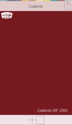 "Red front door colors | Caliente AF-290 | Benjamin Moore paints | SwatchDeck app | Use the ""Search"" function in app to access the entire collection of front door colors"