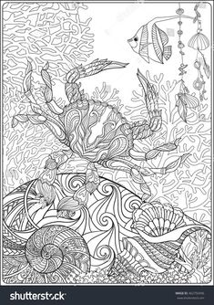 coral, fish and sea shells coloring page for adults : Shutterstock 462750496 - Fisch Krafts Ideen Chibi Coloring Pages, Beach Coloring Pages, Coloring Pages For Grown Ups, Printable Adult Coloring Pages, Animal Coloring Pages, Coloring Book Pages, Dibujos Zentangle Art, Zentangles, Arts And Crafts For Adults