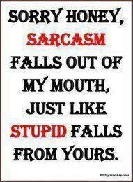 Just don't be stupid and you won't have to deal with my sarcastic self