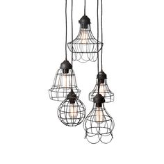 Our brilliant wire light brings the Berliner to your home. Its an exciting, visual masterpiece. Modern industrial inspiration combine with five lights for perfect illumination.  Find the Berliner Five Pendant Lamp, as seen in the Truth Coffee's Steampunk Revolution Collection at http://dotandbo.com/collections/truth-coffees-steampunk-revolution?utm_source=pinterest&utm_medium=organic&db_sku=95302