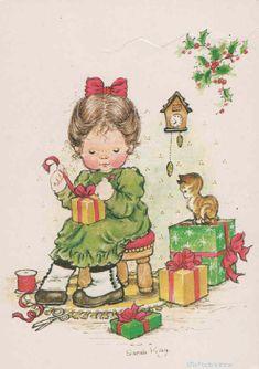 by sarah kay Sarah Key, Vintage Christmas Cards, Christmas Love, Christmas Pictures, Vintage Cards, Holly Hobbie, Illustration Noel, Christmas Illustration, Clipart Noel
