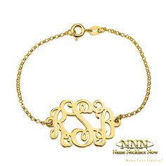 This round monogrammed bracelet is custom designed with your very own unique initials, intertwined for an elegant and truly unique look. Monogram Bracelet, Personalized Bracelets, Name Necklace, Gold Necklace, Plating, Rose Gold, Sterling Silver, Chain, Jewelry