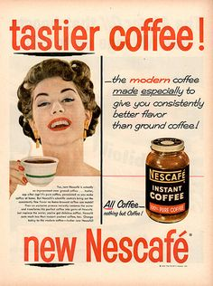 """1954 Nescafe Instant Coffee Original Food and Drink Print Ad -An original vintage 1954 advertisement, not a reproduction -Measures approximately 10"""" x 13"""" to 11"""" x 14"""" -Ready for matting and framing."""