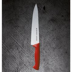 CHEF'S KNIFE - -  Dimensions: 20 cm (suggested use: Meat)  Unique features: **Molybdenum Vanadium Stainless steel enables no food particles retention  **Razor-sharp edge **Ergonomically designed antibacterial handles  **High corrosion resistance **Easy cleaning & maintenance **Fatigue-free professional and home use  **In line with Food Safety Regulations **Different colors for different use – minimum risk of food contamination