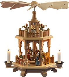 """""""Heavenly Fanfare"""", Pyramid Hand made wooden pyramid of the Christmas Workshop of Rothenburg."""