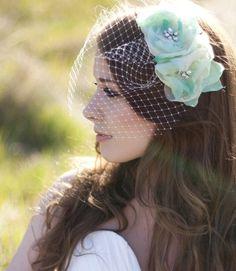 Double Hair Flower Veil // Serephine #wedding #fascinator