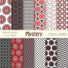 Red Black Digital Paper MYSTERY Red Black Gray by DigitalStories  https://www.etsy.com/listing/127867280/red-black-digital-paper-mystery-red?ref=shop_home_active_4