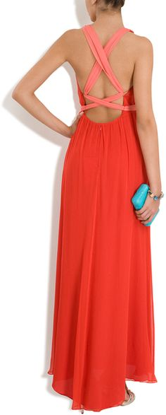 Halston Heritage Rolled Strap Grecian Gown in Red - Lyst
