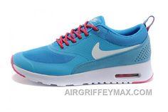 new concept 00e56 1492e Soldes Offre De Haute Qualite Femme Nike Air Max Thea Chaussures Bleu Rose  Blanche Vente Cheap