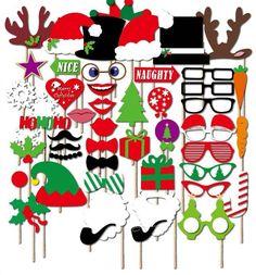 malayas® 50 Zubehör Photobooth Schnurrbart Zubehör von Fotos lustig Lippen Krawatte Hüte Brille Geschenke mit batôn für Hochzeit/Party/anniverdaire/Weihnachten Foto Booth Props: Amazon.de: Küche & Haushalt