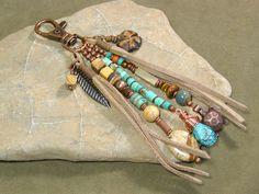 Purse Charm - Zipper Pull - Keychain Charm - Southwestern Tassel - Beaded Clip - Belt Loop Clip - Native Tribal Charms. $32.00, via Etsy.