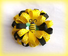 Yellow and Black- Boutique Style Loopy Ribbon Flower Hair Clip - Bee Hair Bow - Hand Sewn $4.50