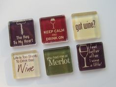 Wine-Themed Refrigerator Magnets, Set of 6 Fridge Magnets. $12.00, via Etsy.    A wine themed kitchen is all in the details!