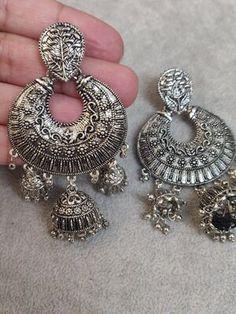 Jhumki Earrings, Indian Earrings, Dangle Earrings, Antique Earrings, Earring Backs, Chandelier Earrings, Antique Silver, Dangles, Layers