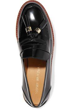 Stuart Weitzman - Manila Glossed-leather Loafers - Black - IT35.5
