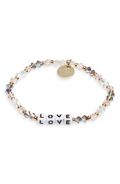 Little Words Project Love Beaded Stretch Bracelet Diy Bracelets With String, Diy Beaded Bracelets, Beaded Bracelet Patterns, Cute Bracelets, Handmade Bracelets, Fashion Bracelets, Beaded Jewelry, Handcrafted Jewelry, Letter Bead Bracelets