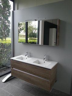 Thebalux badmeubel 1200 breed met spiegelkast, opbouwverlichting en contactdoos/schakelaar - Badkamermeubelset - Badmeubels - Megabad
