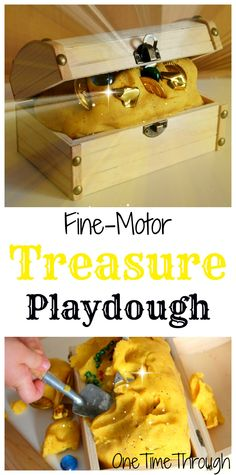 Pirate Treasure Playdough: Fine Motor Fun What child doesn't enjoy DIGGING for TREASURE! (while working out those Fine-Motor Skills) Perfect for a pirate theme birthday party, or just for a special surprise! ~One Time Through Pirate Preschool, Pirate Activities, Playdough Activities, Motor Activities, Preschool Activities, Drama Activities, Fall Preschool, Alphabet Activities, Preschool Worksheets