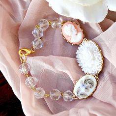 c4bcf714f4d Crystal Bead Cameo Charm Bracelet