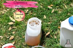 Another fantastic chemistry hack homemade lawn food. Easy, cheap and effective! Full tutorial for homemade lawn fertilizer on chemistrycachet.com