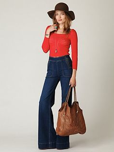 thinking about wide leg high waisted jeans for the summer, with a cute, short, eyelet top.