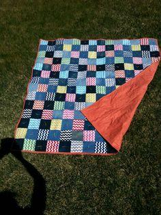 Denim and chevron picnic blanket April 2016