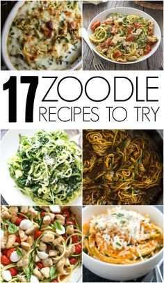 17 Zoodle Recipes To Try. Great ideas for healthy and delicious meal ideas! Zucchini Noodle Recipes, Veggie Recipes, Vegetarian Recipes, Dinner Recipes, Healthy Recipes, Fast Recipes, Delicious Recipes, Spiral Vegetable Recipes, Vegetarian Tapas