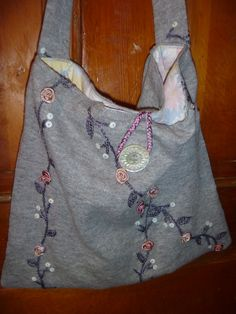Cate's Closet and Clutter on Facebook #sweater #vintage #purse #button