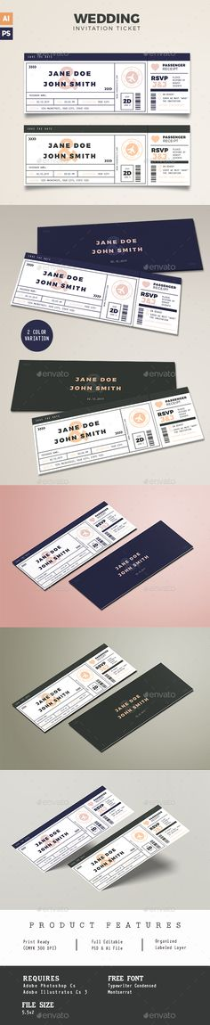 Boarding Pass #Wedding Invitation - Weddings #Cards & Invites Download here: https://graphicriver.net/item/boarding-pass-wedding-invitation/19624394?ref=alena994