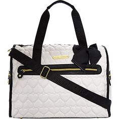 White Quilted Heart Weekend Bag