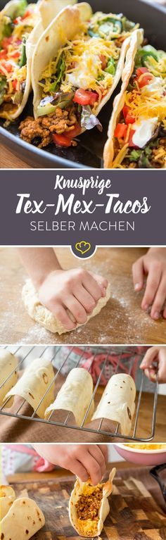 Harte Schale, würzig-weicher Kern: Knusprige Tex-Mex-Tacos Tacos with Cassian Tex-Mex combo from ground beef, cheddar, tomatoes, salad and sour cream. Burger Recipes, Pizza Recipes, Grilling Recipes, Mexican Food Recipes, Beef Recipes, Vegetarian Recipes, Dinner Recipes, Tostada Recipes, Vegetarian Mexican