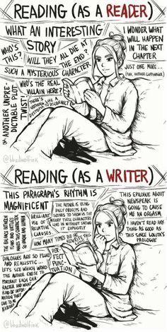 Reading as a reader vs. Reading as a writer (caricature) - U .-Lesen als Leser vs. Lesen als Schriftsteller (Karikatur) – UNTERHALTUN Reading as a reader vs. Reading as a writer (caricature) – ENTERTAINMENT - Writing Humor, Book Writing Tips, Writing Quotes, Writing Prompts, Book Quotes, Fiction Writing, Start Writing, Writing Help, Writing Ideas
