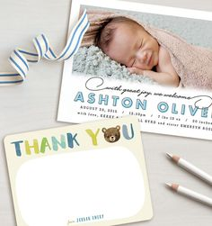 After the Baby Shower, debut your newborn with a sweet thank you note from their big brother or sister! Birth Announcement ideas.