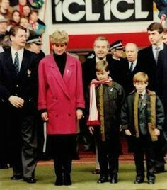 February Prince Harry joined Lady Diana and Prince William in supporting the Welsh team who was playing against France during the Rugby Union Match - 1992 ...