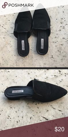 ad7cf75f279975 Slip on mules Gently used black slip on mules. Normal wear and tear. Size  8