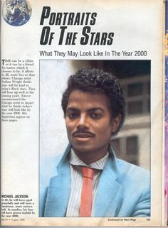 Ebony magazine, August 1985 — Artist Nathan Wright imagines stars as they might look in the year 2000. Here's Michael Jackson at age 40.